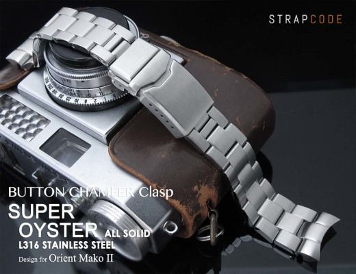 22mm Super Oyster 316L Stainless Steel Watch Band for Orient Mako II & Ray II, Button Chamfer