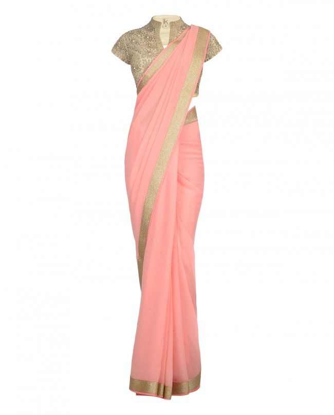 Coral Pink Sari with Embroidered Blouse