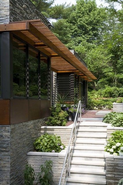 Exciting Modern Pergola with Attractive Outdoor Decoration: Enchanting Modern Pergola Design In Modern Exterior With White Entrance Stairs A...