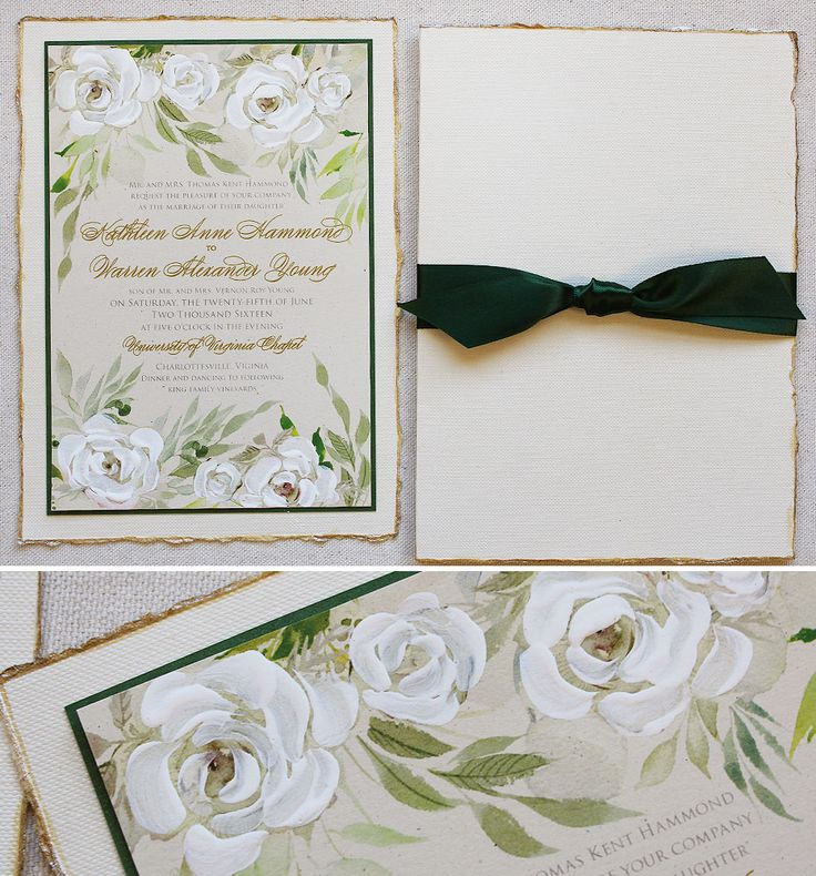 Botanical White Rose Wedding Invite With Hand Painted Gold Edges Clic Momentaldesigns