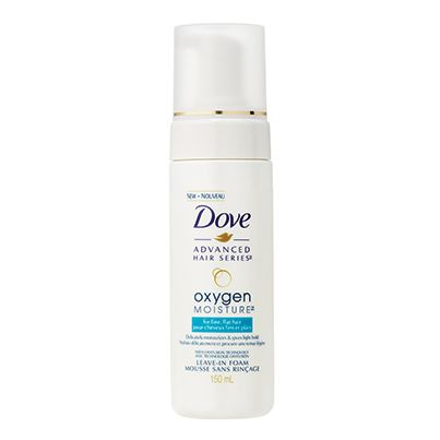 Dove Oxygen Moisture™ Leave-in Foam THE SCOOP: This luscious  foam delicately moisturizes hair and creates a light, flexible hold to keep your style looking great all day. Hair is left balanced and shiny. Also available: Dove Oxygen Moisture™ Shampoo and Conditioner