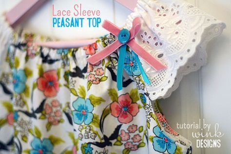 Easy tutorial for a cute variation on a peasant-style top using lace trim for the sleeves.  From Wink Designs blog.