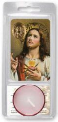 Sacred Heart of Jesus Votive Candle & Prayer Card with Medal