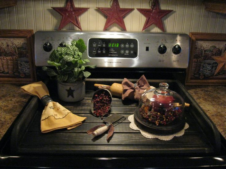 I love this display when the stove top is not in use...keeps stove top looking nice!