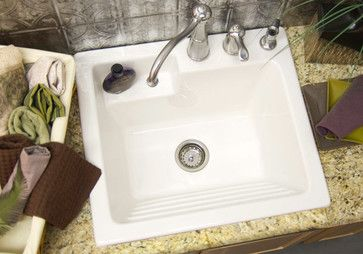 Utility Sink - Laundry Tub with Washboard, Microban Protected - Westerly - traditional - Utility Sinks