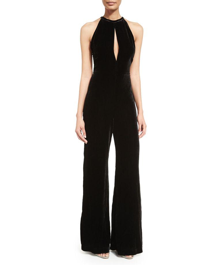 7 For All Mankind Halter-Neck Wide-Leg Velvet Jumpsuit, Black