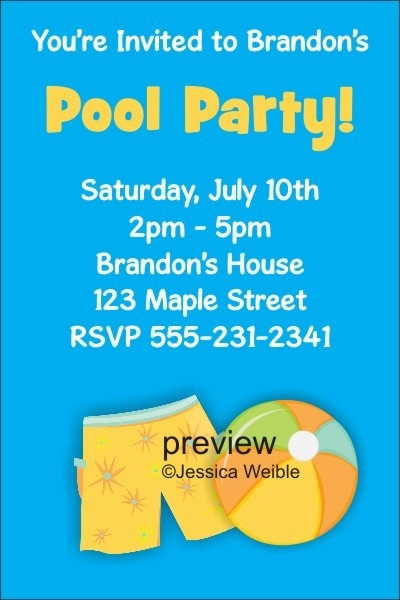 Pool Party Invitations 7  - Boy Pool Party     Pool Party Invitations 7  - Boy Pool Party. Invite friends and family over for a dip in the pool with this pool party invitation. It features a blue background with boy swim trunks and a beachball.