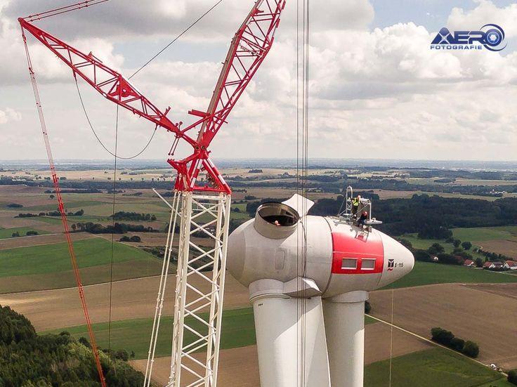 Luftaufnahme Windrad Aufbau Enercon E-115
