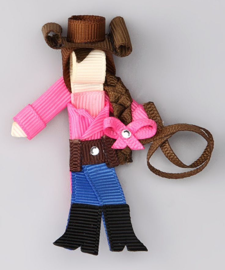 This Pink & Blue Brown-Haired Cowgirl Clip by Spoiled & Sparkly is perfect! #zulilyfinds