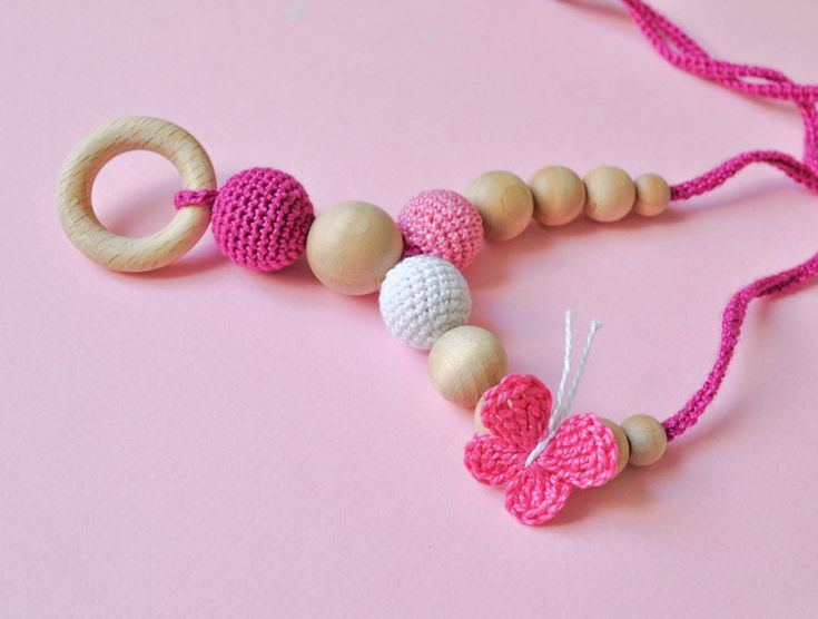 Nursing/Teething Necklace by SimplyaCircle-Breastfeeding Necklace-Eco-Friendly-Pink White-Mother's day