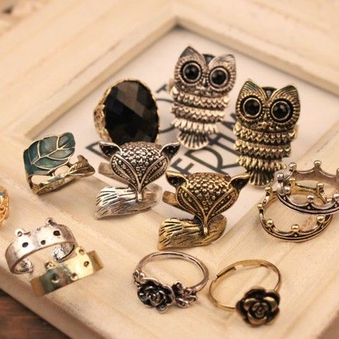 owl rings, rose rings,cute rings,cheap fashion ring ,jewelry only 0.99 shop at www.costwe.com  ,big discounting