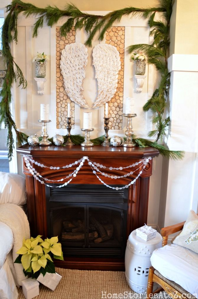 Christmas mantel paper garlands mantels and wax paper for Christmas mantel decorations garland