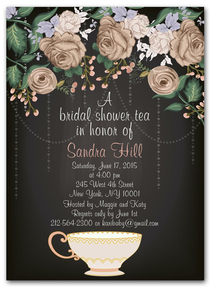 recipe themed bridal shower invitation wording%0A   Bridal Tea Party   Bridal Shower Invitations