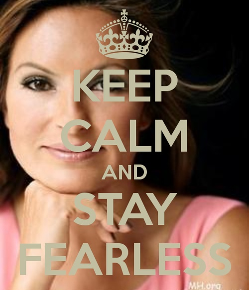 """Being fearless means busting down those walls of fear and being who you are, not who someone thinks you are - Mariska Hargitay"