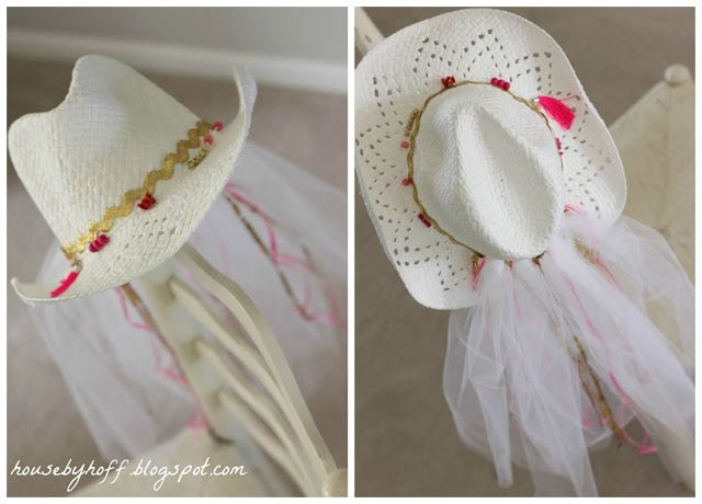 DIY Cowgirl Hat + Veil! Perfect for bachelorette party!
