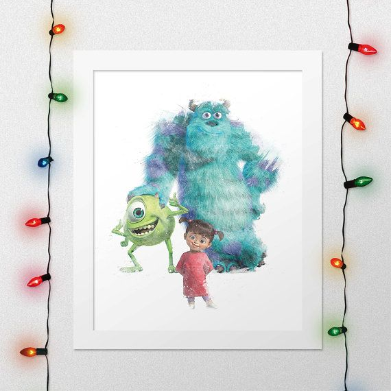 MONSTERS INC PRINT, Sulley Print, Mike Print, Boo Print, Wazowski, Sullivan, Monsters Inc Watercolor, Disney Nursery, Wall, Digital Print