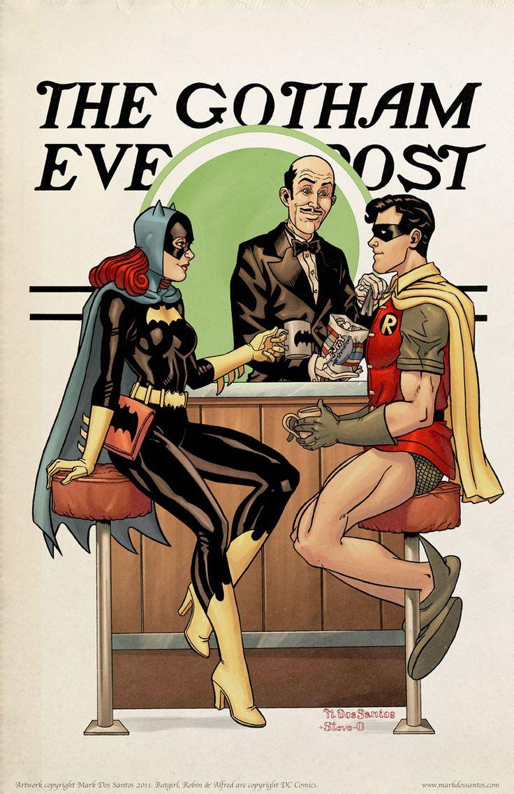 The Gotham Evening Post by Mark Dos Santos - Batgirl (Barbara Gordon), Alfred Thaddeus Crane Pennyworth & Robin (Dick Greyson) _ DC Comics