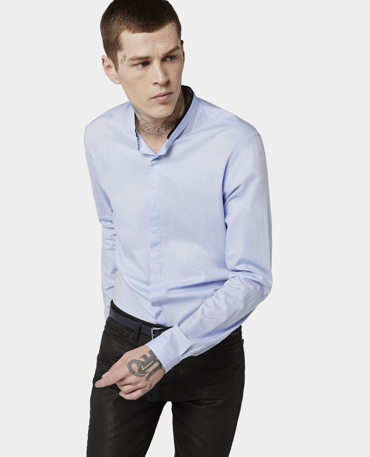 Chemise en fil à fil à col officier réhaussé de taffetas - Chemises Classiques - Homme - The Kooples