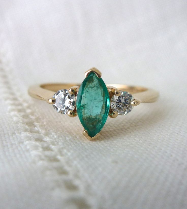 A Natural Marquise Emerald and Diamond Engagement Ring in 14kt Yellow Gold - Vera by RomanceVintageJewels on Etsy