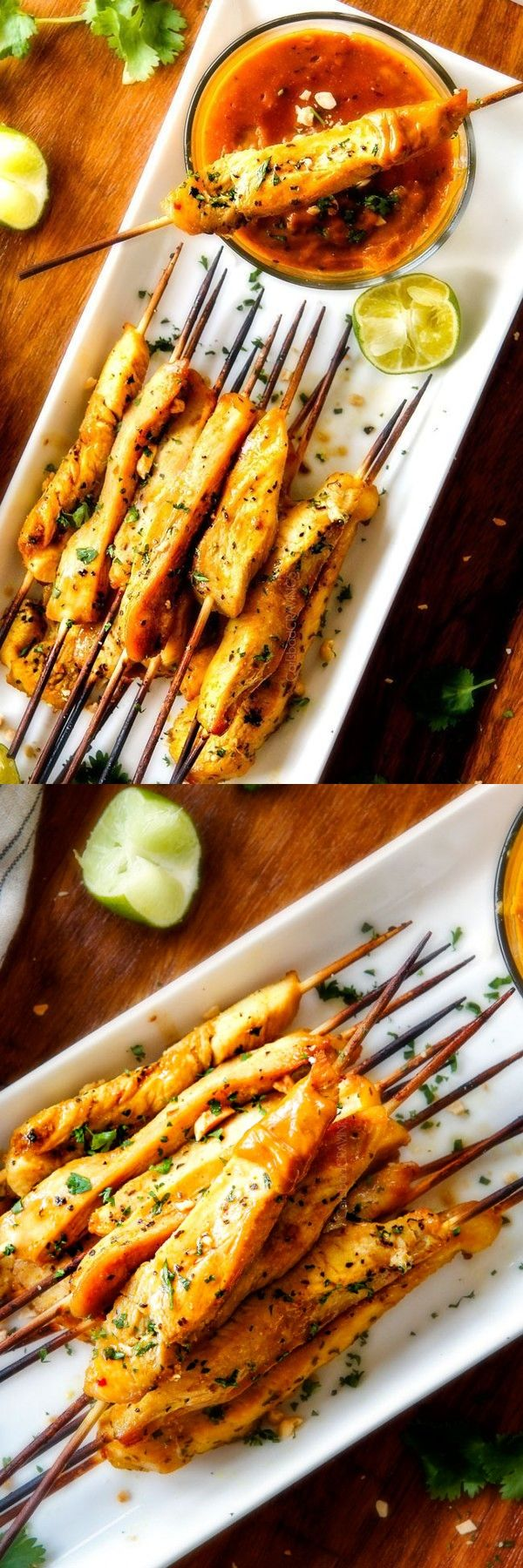 Thai Chicken Satay with Peanut Sauce (baked or grilled!