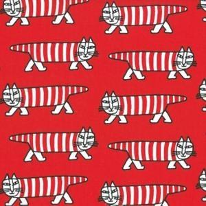 Mikey röd metervara. Design: Lisa Larson. Sweden. Mikey fabric red.