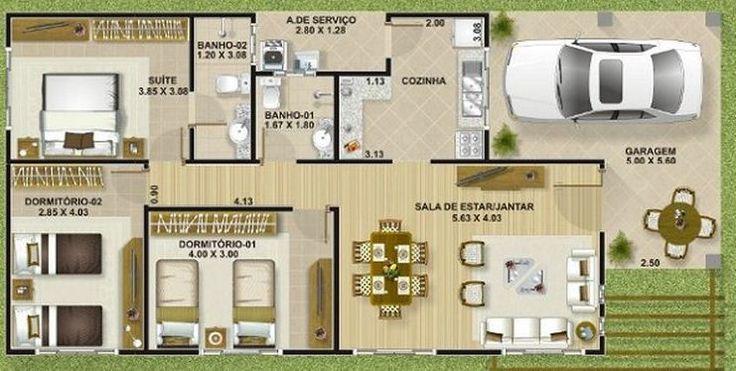 24 best planos images on Pinterest Smallest house, House - plan maison plain pied 80m2
