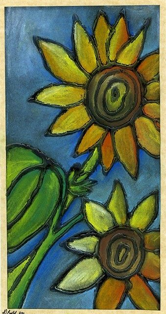3rd - 5th grade. Glue outline with chalk pastel colors. Love the sunflowers but you could try other subjects. Sea creatures?