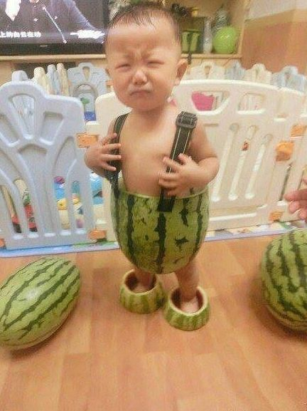 Watermelon Outfit For a Baby  ---- funny pictures hilarious jokes meme humor walmart fails
