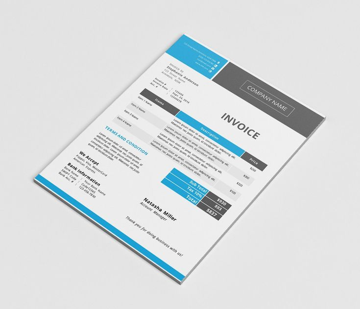 Modern docx invoice template by Inkpower on @creativemarket