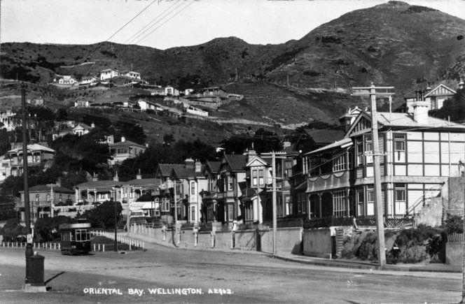 Oriental Bay, looking southeast to the intersection of Oriental Terrace, Wellington