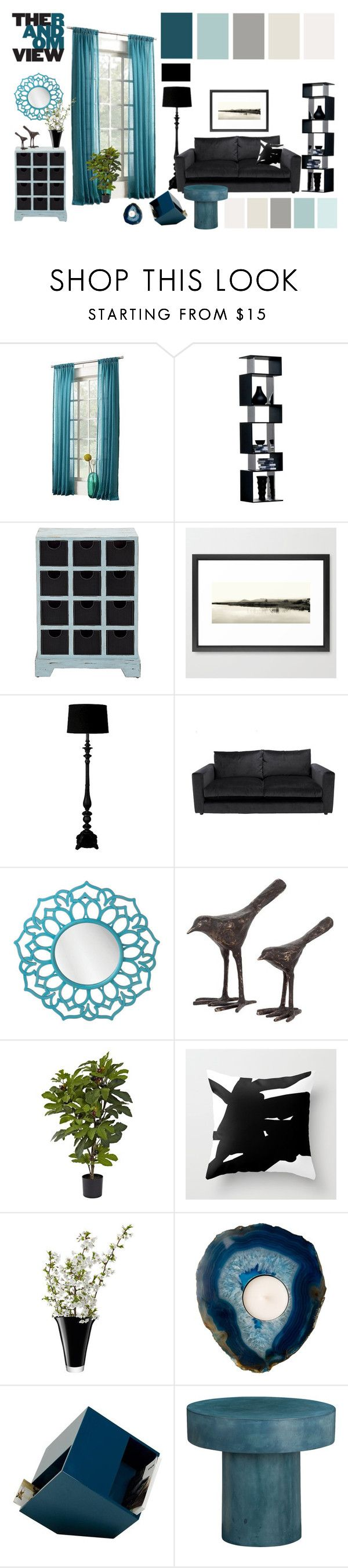 """""""teal vs black • living room"""" by by-jwp ❤ liked on Polyvore featuring interior, interiors, interior design, home, home decor, interior decorating, Sun Zero, Threshold, Dot & Bo and Nearly Natural"""