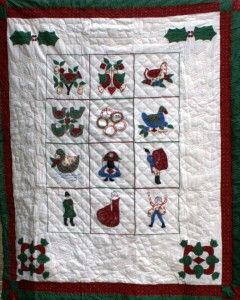 """""""12 DAYS OF CHRISTMAS"""" HANDMADE QUILTED WALL HANGING  #quilt #12daysofchristmas #gifts #holidayshopping #wallhanging #decorative #homedecor #festiveseason #winter #christmas #holidays #vintage"""