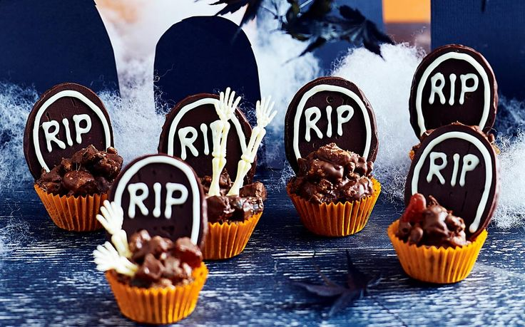 This rocky road chocolate bites recipe makes a great Halloween recipe idea for adults and kids alike. Serve in cupcakes cases with edible gravestones.