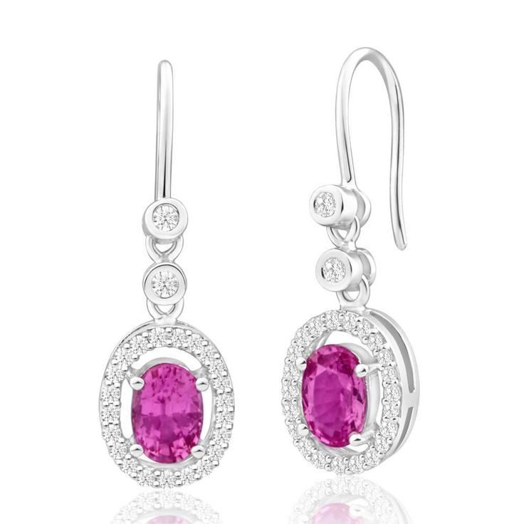 Pink Sapphire and Diamond Earrings in 9ct Gold. Perfect for a splash of colour