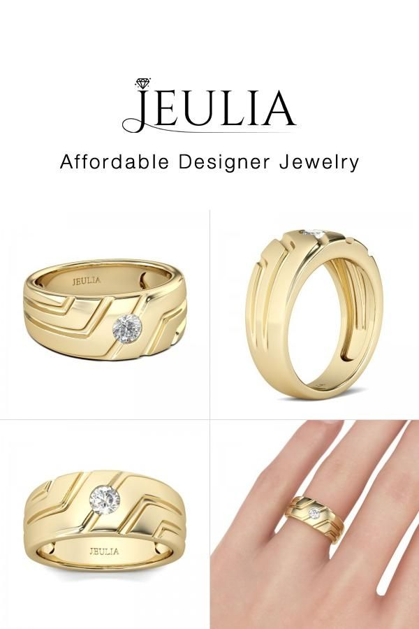 Check This Out From Jeulia Jeulia Asymmetric Men S Ring In 2020 Yellow Gold Mens Wedding Ring Jeulia Rings For Men