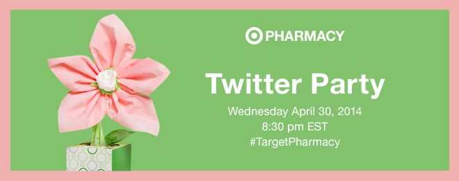Please join us for the Target Pharmacy Twitter Party. Date of twitter party is Wednesday April 30, 2014 at 8:30pm EST. Please be sure to follow @TARGETCANADA on twitter.  (image dimensions 660 x 261 pixels)