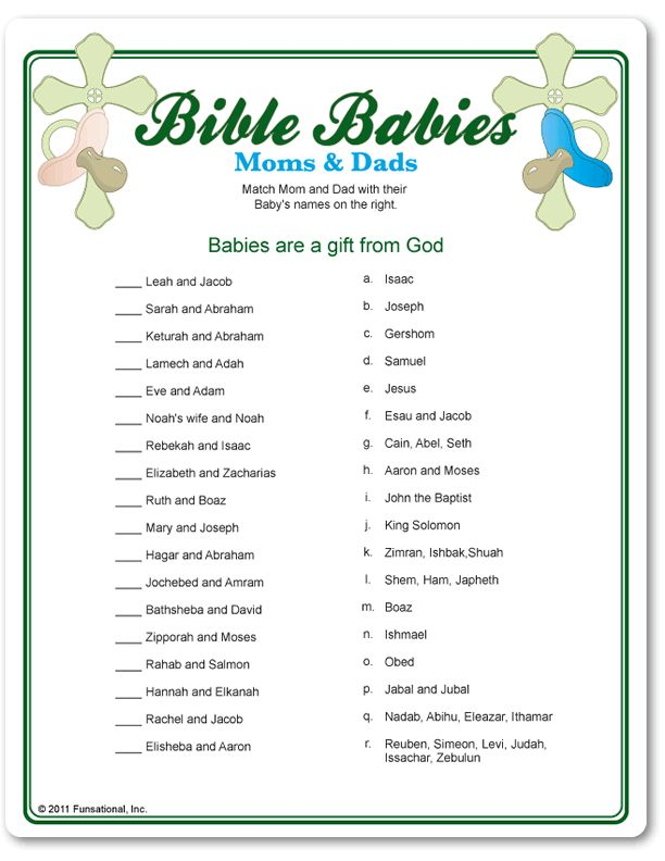 Bible Babies shower game.