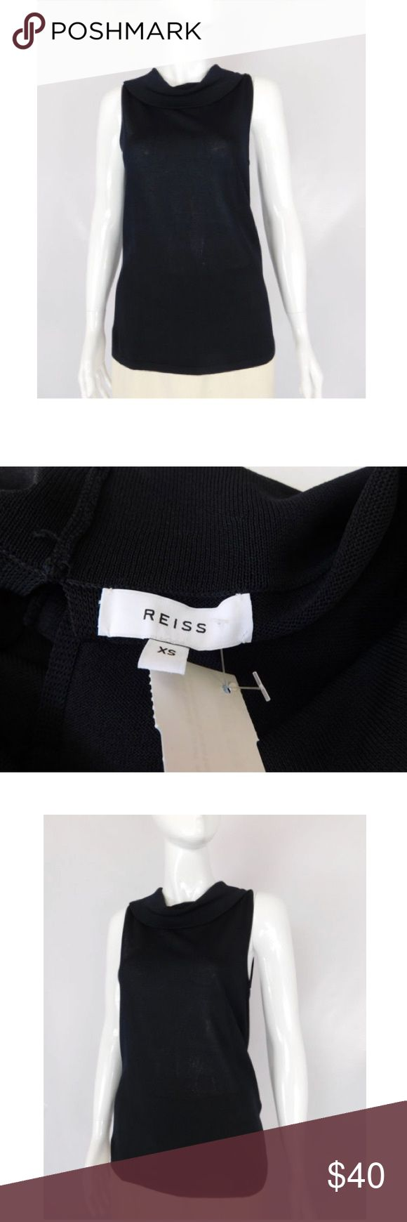Reiss  Sheer Knit Cowl Neck Sleeveless Sweater Reiss Black Sheer Knit Cowl Neck Sleeveless Sweater - Size XS  Size XS Viscose blen Sleeveless style Cowl neck Keyhole back 