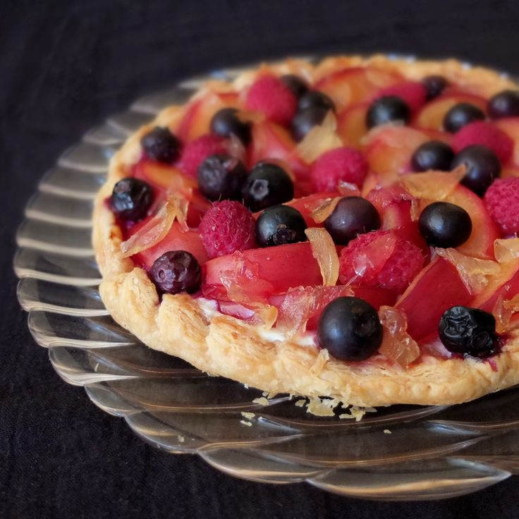Baked gingery fruit and quark tart (with optional inverted puff pastry) - lili's cakes