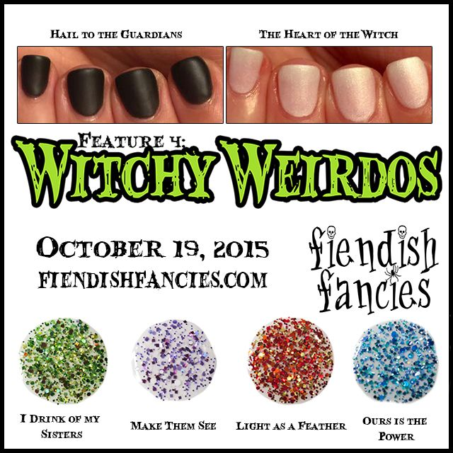Witchy Weirdos Collection by Fiendish Fancies ~ 5-Free, vegan, cruelty-free Nail Lacquer hand-poured in Canada