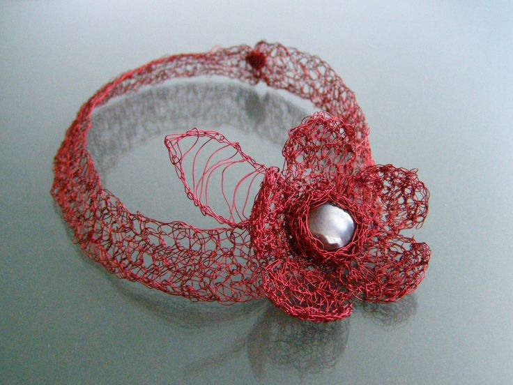 NECKLACE - RED FLOWER- handmade decorative flower for  the beautiful woman by EcoDyeing on Etsy