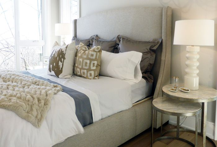 #Highview house master bedroom from #BryanInc seen on #HGTVCanada. Furniture by Cocoon: #Cooper bed, #Tiffin nesting tables, #Wheaton table lamp, pillows and bedding. #bryanbaeumler #sarahbaeumler