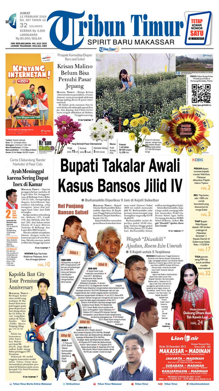 Tribun Timur edisi Jumat, 12 Februari 2016