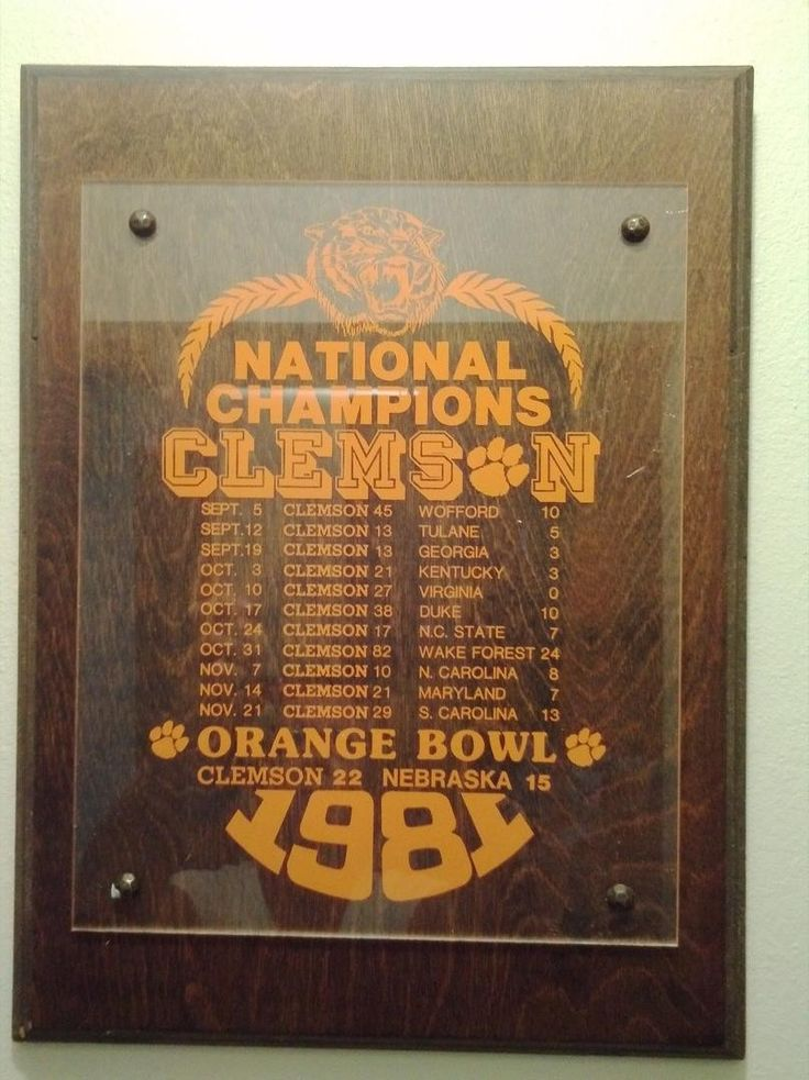 Clemson National Champions 1981 Game Schedule Plaque | #1761635757
