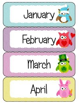 This colorful file allows you to add a touch of color to your calendar area. Included in this file are the 12 months of the year with a corresponding holiday owl. Just print, laminate, and cut to reuse year after year.