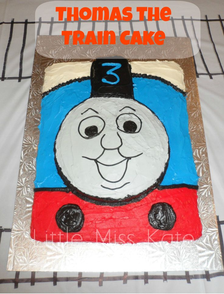 """Thomas The Train Cake - An easy DIY Thomas The Train Cake fit for any little engineer! Made with 2-11x13 and 1-9"""" cake this cake is quick to put together and sure to impress! Thomas the Train Birthday Party"""