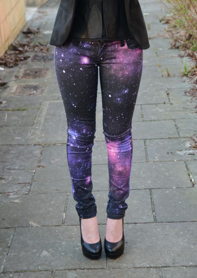Frankie B Galaxy Jeans http://raindropsofsapphire.com/2013/03/12/galaxy-print-jeans-faux-leather-peplum/