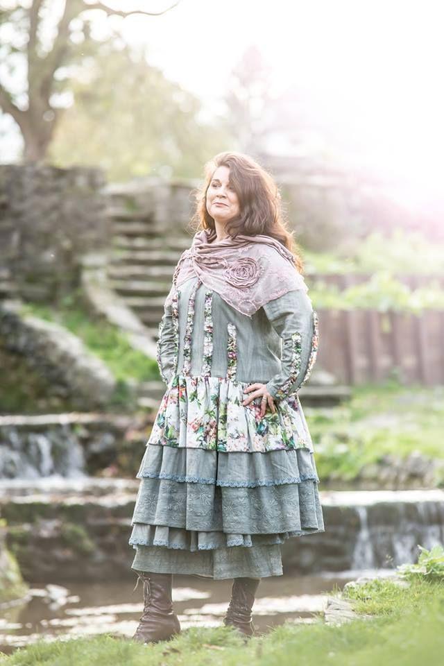 Robe originale création unique en coton gris vert et coton soie imprimé TU | eBay