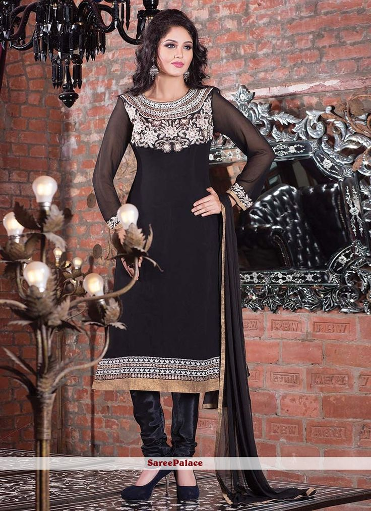Fanciful Black Faux Georgette Churidar Suit