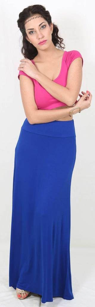 De Moza Ladies Long Skirt Viscose Lycra Royal Blue   #palazzo #demoza #printedlegging #longshrug #fashionbloggers #harem #bloggerpost #bloggers #skirts #AW16